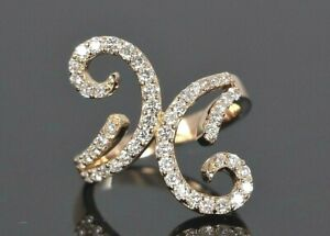 $5,995 Fred Co 18K Rose Gold Round White 1.35ct Diamond Swirl Floral Flower Ring