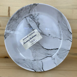 """Set of 4-Tommy Bahama-Marble Gray/White 9"""" Large Melamine Bowls Indoor/Outdoor"""