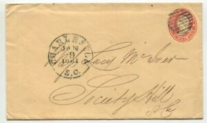 CHARLESTON SC JAN 9 1861 U27 Independent State cover Lucy Mc Iver Society Hill