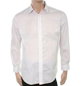 William Rast White Mens Size Medium M 15-15 1/2 Floral Dress Shirt $59 #673