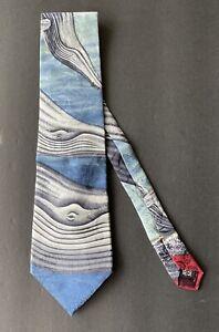 Endangered Species Silk Tie Humpback Glory Whale Ocean Blue Burgundy