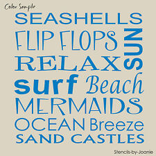 STENCIL Beach Sun Surf Mermaid Ocean Breeze Sand Castle Flip Flop Subway Signs