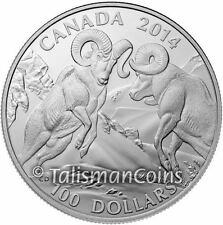 Canada 2014 Wildlife in Motion $100 Commemorative Bighorn Sheep Pure Silver