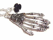 SKELETON HAND & BLACK ROSE NECKLACE skeletal pendant gothic charm silver 1W