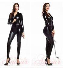 4 Way Zip Wetlook Sexy Shiny Black Stretch PVC/latex Catsuit Size 16-18 Free P&P