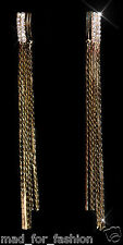 Sexy Long Chain Earrings in Gold Colour with Rhinestones.