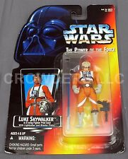 Star Wars PotF Luke Skywalker in Pilot Gear RARE SHORT SABER LONG TRAY Red Card