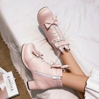 Womens Lolita Bow Tie Lace Up Fashion Block Mid Heel Ankle Boots Mary Jane Shoes