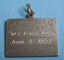 Vintage Danecraft Marriage License June 4 1921 sterling charm