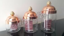 Ruffoni MADE IN ITALY Set of 3 Copper Lid Artichoke Finial Canister Jars NWT!