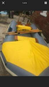 avon 3.4m inflatable dinghy boat pump oars