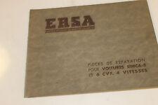 catalogue de pièces détachées ERSA POUR VOITURES SIMCA 8 CHF  EN TBE
