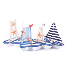 Wooden Crafts Nautical Decoration Cloth Sailboat Model Flag Table Ornament LU