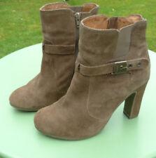 Scholl light brown suede high block heeled ankle boots size UK 7 EU 40       B40