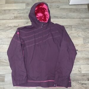 Burton Women Snowboard Jacket Large Purple Pink Hooded Full Zip Winter Outdoors