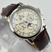 42mm Debert Moon Phase Steel White Dial sliver Case classic Automatic Mens Watch