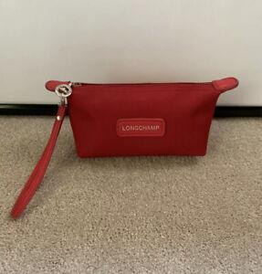 Longchamp Red Nylon Wristlet Cosmetic Makeup Bag Toiletry Case ZIP Top Purse