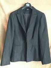 Womens Black & Silver Jacket Smart Business Blazer Fully Lined UK 14 EU 42 US 10