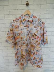 Vtg CRAZY PATTERN SHIRT Party Festival Loud Ugly Holiday Loose Fit Large
