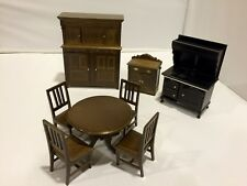 Wooden Quality Dollhouse Miniature Furniture Kitchen Set Of 8 Pieces Vintage