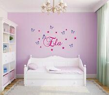 Wandtattoo ♥ Sternen & Schmetterlinge ♥ Wunschname ♥ Kinderzimmer ♥ 2-farbig