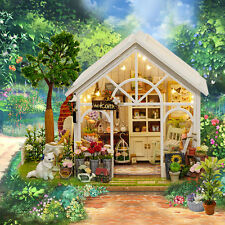 Dollhouse Miniature DIY House Kit With Furniture Handmade Craft Gift Foral House