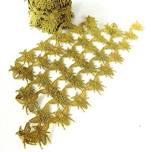 Gold Honey Bee Sew-On Applique Motif Filigree Lace Craft Trimming - By The Metre