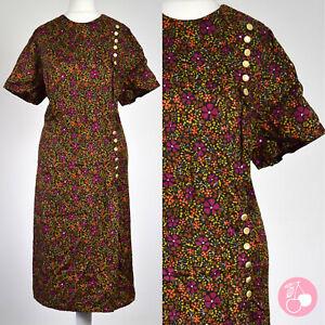 BLACK FLORAL, BUTTON & BOW DETAIL 1950s VINTAGE DRESS 18