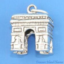 Arc De Triumph Triomphe Paris France 3D .925 Solid Sterling Silver Charm