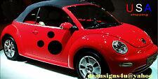 VW car EXTRA LARGE SET 6 spots dots ladybug volkswagen black beetle bug beetle