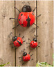 Set Of 4 Metal Ladybugs Garden Insects For Porch Patio Wall Fence Garden