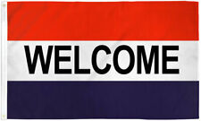 Welcome Flag 3x5 Red White Blue Welcome Banner Sign We're Open Now Flag 00000503