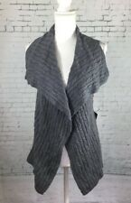 Nwt Cynthia Rowley Gray Wool Blend Cable Knit Open Cardigan Sweater Vest Size XS