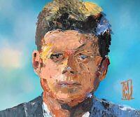 "President John F Kennedy JFK Portrait Abstract Pop Art Original Painting 11x14"""