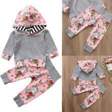 AU Unicorn Baby Girl Clothes Hooded Top Flower Pants Infant Outfit Set Tracksuit