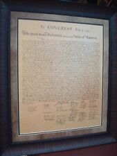 "LARGE DECLARATION OF INDEPENDENCE PRINTED PARCHMENT PAPER FRAMED   30"" X 35"""