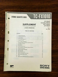 Sony TC-FX1010 Cassette Service Manual Supplement *Original*