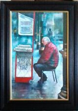 BRYAN EVANS - 'TWICE WITH TOMMY' ORIGINAL ACRYLIC OIL ON BOARD. SIGNED. FRAMED