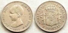 España-Alfonso XIII. 2 Pesetas. 1892**-92. Madrid. MBC+/VF+. plata 9,8 g. ESCASA