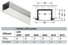 Hafele LED Strip Light Profile Housing Milky Frost Under Cabinet Recess Mount