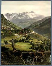P.Z., Schweiz, Stalden. La Gare et l'Hôtel de Stalden  PZ vintage photochro