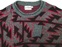 Le Tigre Sweater 4X Big Man Dark Gray Red Triangles 100% Warm Acrylic Vintage