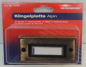 Heidemann Klingelplatte Alpin Messing brozniert mit Namensschild Art.-Nr.: 70142