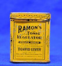 Antique Medicine Collectible Advertising Tin RAMONS TONIC REGULATOR Torpid Liver