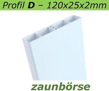 Zaunbretter D (120x25)weiss L=65cm Profiware Kunststoffzaun Balkon Geländer Zaun