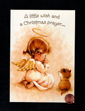 Vintage Christmas Angel Girl Cat Praying - Religious - Greeting Card W/ Tracking