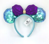 Disney Parks Minnie Ears Sequins Aqua 2020 Little Mermaid Ariel Purple Headband