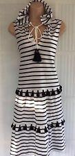 NEW NEXT 12 black white stripe hooded pom pom tassel sleeveless mini sun dress