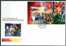 SOLOMON ISLANDS 2015 25th ANNIVERSARY RE-UNIFICATION OF GERMANY  S/SHEET FDC