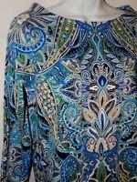Rafaella Top Tunic Shirt XL Blue Multi Floral Paisley Print Cotton Artsy XLT49